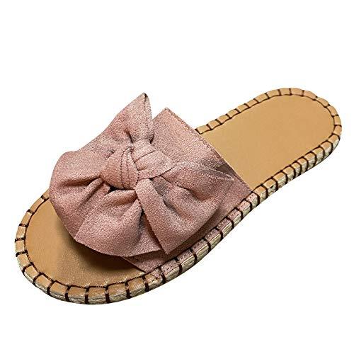Damen Casual Hausschuhe mit Bogen Open Toe Sandals, Women Outdoor Sandals Slippers Sandalen Sommer Slippers Sandaletten Sommerschuhe Strandsandalen Schuhe Sandaletten (Lila, 37)