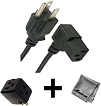 6FT Right Angled AC Power Cord for HP Pavilion TouchSmart 23-f213w All-in-One Desktop PC + 3 Outlet Adapter