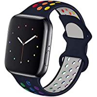 Hotflow Compatible with Apple Watch Band 38mm 40mm (Midnight-Blue-Colorful)