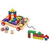 Legnoland- Carretto Trainabile Legno con 12 Cubi/23 Costruzioni, Multicolore, 37771...