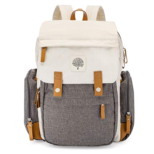 Parker Baby Diaper Backpack - Large Diaper Bag with Insulated Pockets, Stroller Straps and Changing Pad -'Birch Bag' - Cream