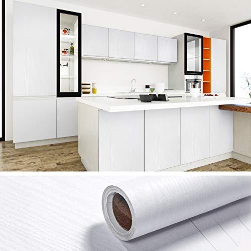 VEELIKE Papel Pintado Madera Papel Pared Vinilo Autoadhesivo para Muebles Papel Tapiz Blanco Impermeable Papel de Pared Adhesivo para Muebles 60cm x 900cm