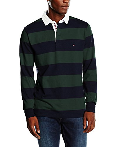 Tommy Hilfiger Herren Basic Block STP Rugby L/S VF Poloshirt, Mehrfarbig (Sky Captain/Darkest Spruce 902), X-Large