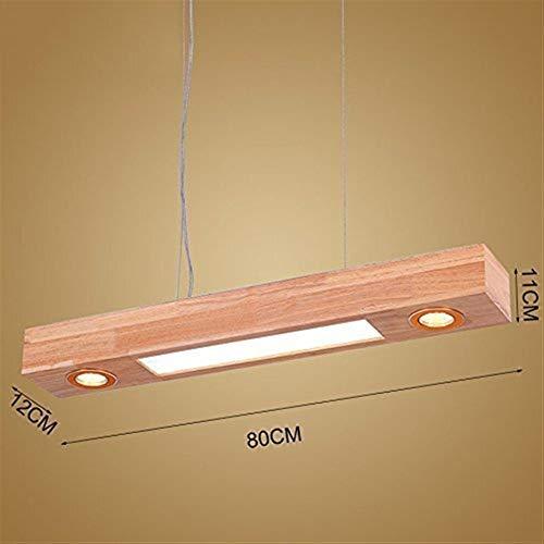 Busirsiz Lámparas Colgantes Lámparas de Techo de Madera del LED, lámpara Moderno Bar Oficina del rectángulo del hogar Restaurante de la lámpara, 80cm (Color : 80cm)