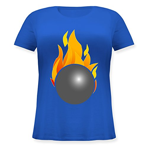 Bowling & Kegeln - Kegeln Kugel Flammen bunt - M (46) - Blau - JHK601 - Lockeres Damen-Shirt in großen Größen mit Rundhalsausschnitt