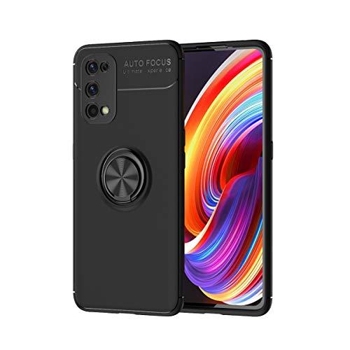 zl one Compatible con/reemplazo para la funda del teléfono Realme X7 Pro Metal Ring Back Cover Ultra-Thin TPU Bumper (Negro Cubierta Negra)