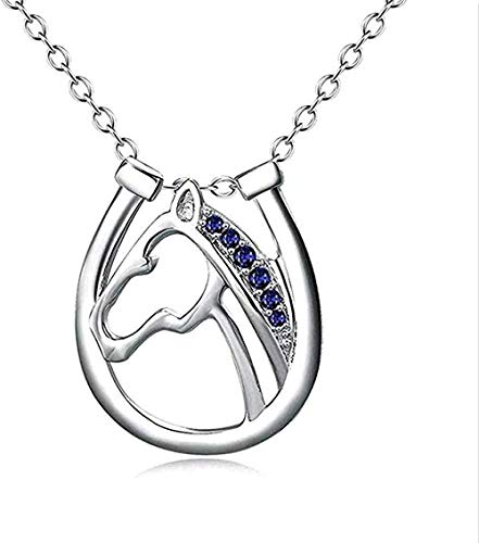 FACAIBA Collar Mujer Hombre Mujer S Collar 925 Joyas de Plata Micro-Set Colgante de Cabeza de Caballo Elegante Herradura Collar de la Suerte para Mujeres Hombres Regalos