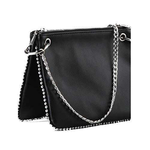 Buffalo Umhängetasche für Damen HELLEN, Frauen Handtasche,22x2x17cm,Black(Schwarz)