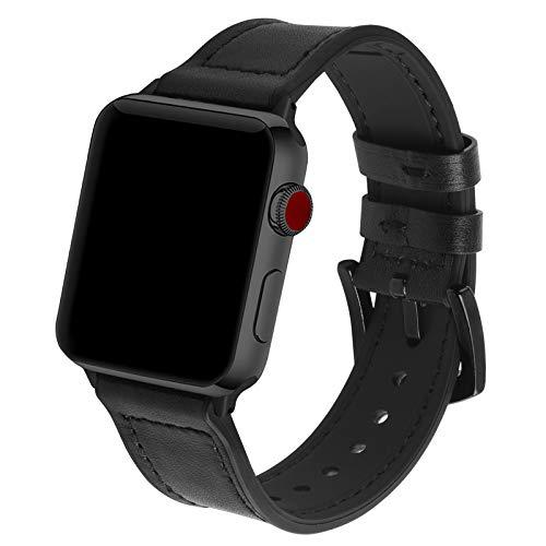 GerbGorb Correa de reloj de cuero de silicona 42 mm 44 mm 38 mm 40 mm, correa iWatch de cuero de caucho ultra suave para Apple Watch Series SE / 6/5/4/3/2/1 【Hebilla Negra / Negra , 42 mm / 44 mm】