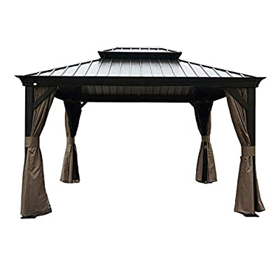 Kozyard Alexander Hardtop Aluminum Permanent Gazebo with a Mosquito Net and Privacy Sidewalls