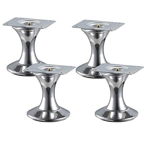 Meubelvoeten 4 X, moderne meubels vervanging benen bank, stoel, kruk, kast fineer voeten (zilver) hoogte 9,2 cm - smeedijzer, geschikt voor kasten, salontafels en andere bont