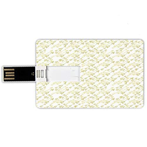 64GB Chiavette USB a forma di carta di credito Freccia Decor Memory Card stile carta di credito Disegnato a mano morbido pallido croce croce allineata frecce tribale indiana vecchio stile Art Print,gi
