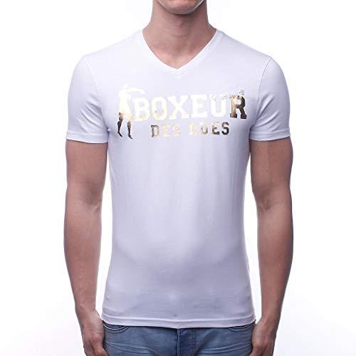 BOXEUR DES RUES T-Shirt con Scollo A V Uomo, Bianco-Oro, XXXL