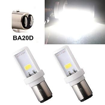 Qasim 2-Pack BA20D LED Motorcycle Headlight Bulb Super Bright White H6 High Low Beam Light Motorbike Headlamp 12W Ceramic 900LM COB Chips 6500K