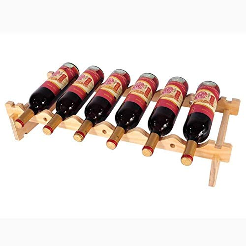 HJXSXHZ366 Estantería de Vino Apilable botellero botellero - Estante de Almacenamiento de Madera Casa - Bar/Home, Botellas de 8 Estante de Vino pequeño (Size : 6bottle)