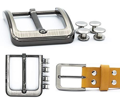 My Belt - Gürtelschnalle 40mm mit Edelstahl Gürtelschrauben 5mm, Schnalle für Gürtel mit Schraubnieten Set, Gürtelnieten, Dornschließe, Nieten für Leder