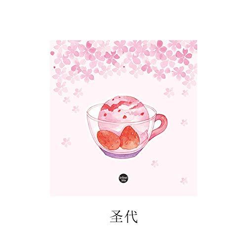Xinger 30Pcs Notizblock Sakura Serie Haftnotizen Handbuch Aufkleber Dekoratives Material Papierblöcke Notizblock, Eisbecher