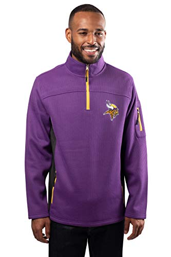 NFL Ultra Game Minnesota Vikings Quarter-Zip Fleece Pullover Sweatshirt with Zipper Pockets, Medium, Purple