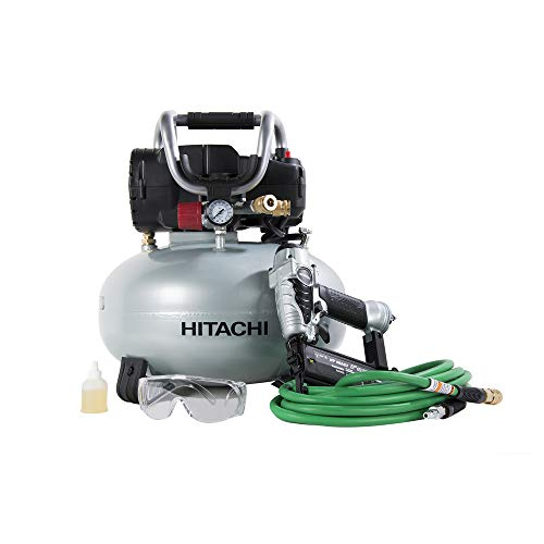 """Hitachi KNT50AB Brad Nailer and Compressor Combo Kit, 6 Gallon Pancake Air Tank, 5/8"""" to 2"""" Brad Nails, Includes 25' Air Hose (Discontinued by the Manufacturer)"""