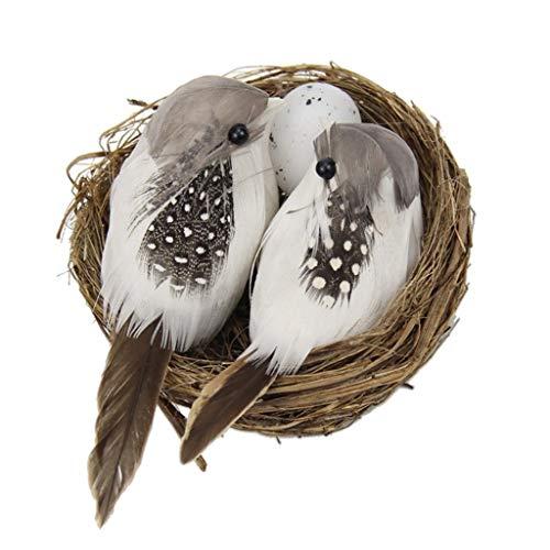 LOVIVER 2 x Mini Vogel Dekofigur Dekovögel Vogel Ornament Garten Deko mit Vogelnest
