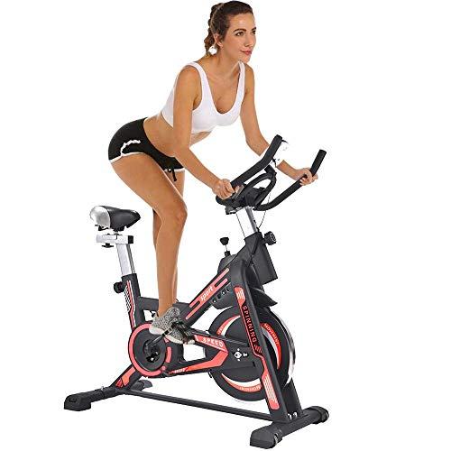 BAKAJI Cyclette Spinning Bike Bici Allenamento Fitness Cardio Gambe Pancia Fianchi con Sediolino Imbottito Regolabile e Display LCD Struttura in Acciaio Inox (Rosso)