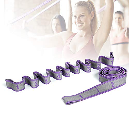 HIMABeauty Antideslizante Múltiples Bucles Correas Yoga, Cómodas Correa Yoga para Mejores Estiramientos para Estiramientos Flexibilidad,Púrpura