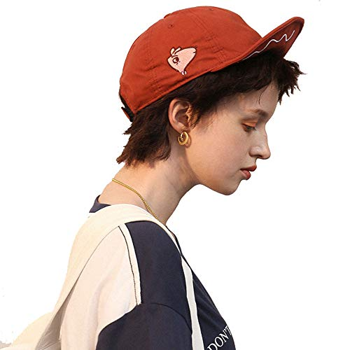 Clape Faltbare Baseball Cap Niedliches Schwein Kurze Brim flach Hat Krempenhut, einfache Baseball Stickerei Hut