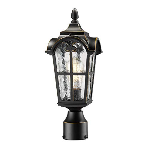 Emliviar Vintage Outdoor Post Lights - Farmhouse Lamp Post Lantern Light Fixture, Black Finish with Water Glass Shade, WE215P BG