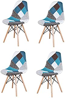 Y&D HOME Juego de 4 Piezas, Moderno sillón de Patchwork de Estilo nórdico, Silla de Comedor, Patchwork de Tela, Silla de Estilo nórdico con Fondo de Madera (Azul)