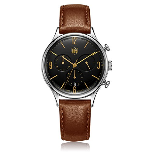 DuFa Unisex Chronograph Quarz Uhr mit Leder Armband DF-9002-02