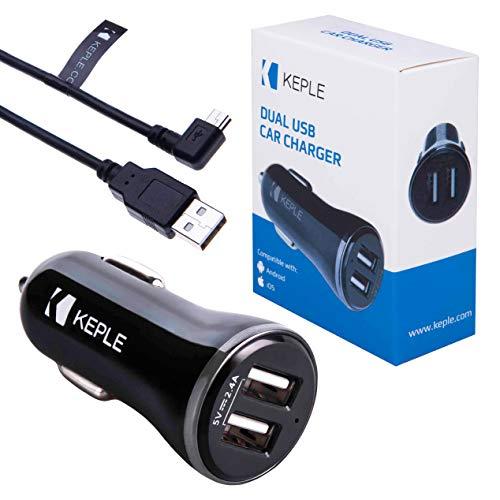 Keple Cargador de Coche Compatible con TomTom Start 25 M/xl modelo 4et03 GPS Veh?culo Sat Nav Sistema de Navegación | Puerto Dual USB 2.4 A 12v + 1 metro Angulo Recto Mini USB Cable