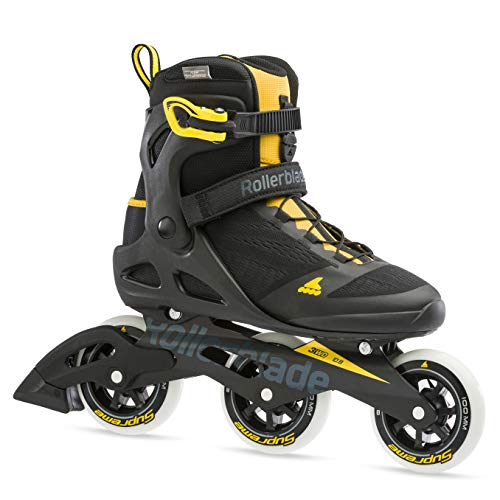 Rollerblade Macroblade 100 3WD Mens Adult Fitness Inline Skate, Black and Saffron Yellow, Performance Inline Skates