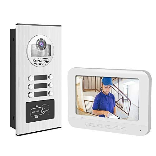 Timbre digital 7 pulgadas Videoportero Timbre de puerta Teléfono RFID Cámara 3 Apartamentos para el hogar(EU(100-240v))