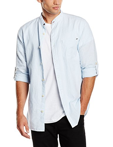 Jack & Jones Vintage JJVRUPERT Shirt L/S China Collar Chemise Business, Bleu (Dusk Blue), L Homme