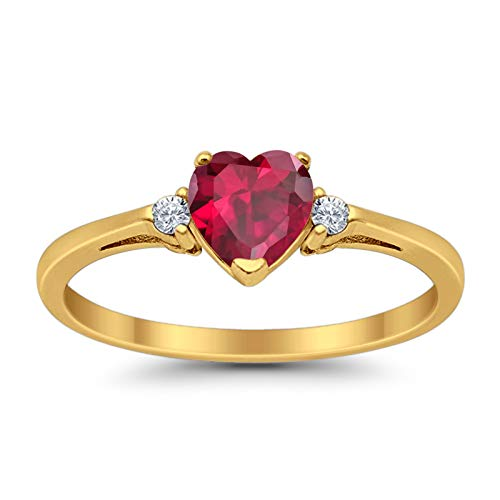 Blue Apple Co. 925 Sterling Silver Promise Ring Heart Shape Simulated Ruby Yellow Tone Round Cubic Zirconia Accent, Size - 5