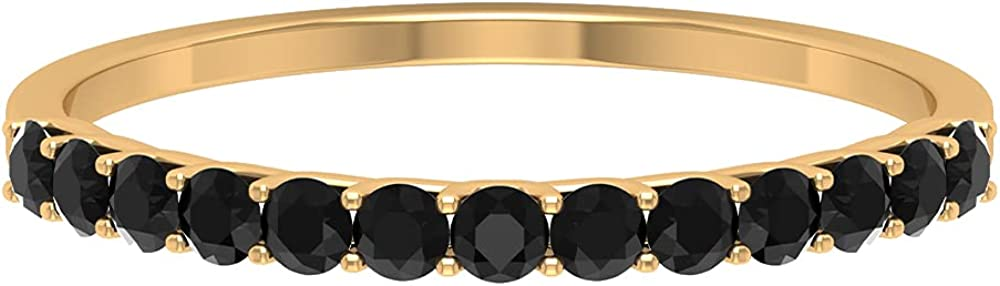 1/4 CT Black Onyx Enhancer Stackable Ring (AAA Quality), 14K Solid Gold