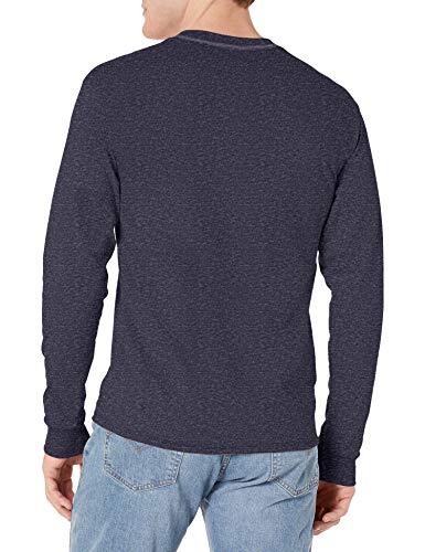 Hanes Men's Long-Sleeve Beefy Henley T-Shirt - Large - Hanes Navy Heather