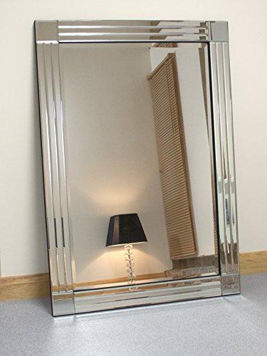 Barcelona Trading Molly Espejo de Pared Rectangular Biselado de Cristal Plateado, 122 x 81 cm, Extragrande