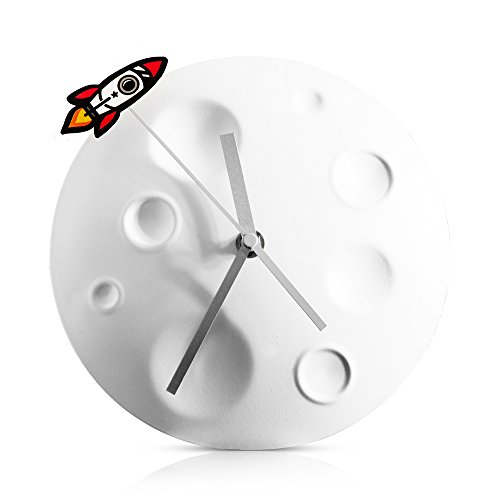 Suck UK Raketen-/Mond-Uhr, Metall, Hellgrau, 20 x 20 x 4.8 cm