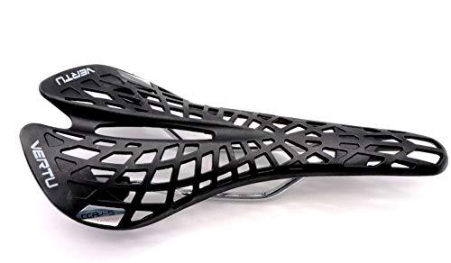 CarbonEnmy - Sillín de bicicleta, deportivo, para bicicleta de carreras, de montaña, 180 g, color blanco y negro, Negro