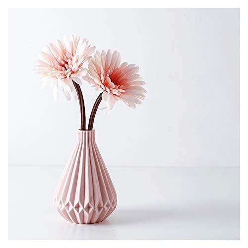Flores Artificiales Flores artificiales con jarrón de cerámica, flores falsas de lisianthus y ramo...