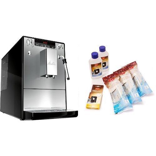 Melitta E 953-102 Kaffeevollautomat Caffeo Solo & Milk mit Milchschaumdüse, silber + Melitta 6er Pflegeset