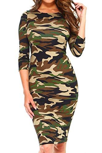 ICONOFLASH Women's 3/4 Sleeve Camo Bodycon Midi Dress - Crew Neck Pencil Dress Size Medium