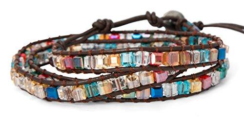 3 Wrap Dazzling Multi Color Crystal Leather Bracelet   SPUNKYsoul Collection