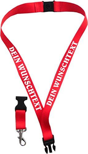 Geschenkartikel Schlüsselband 20 mm mit Verschluss Bedruckt mit Ihrem Schriftzug/auch für Kids (schwarz)