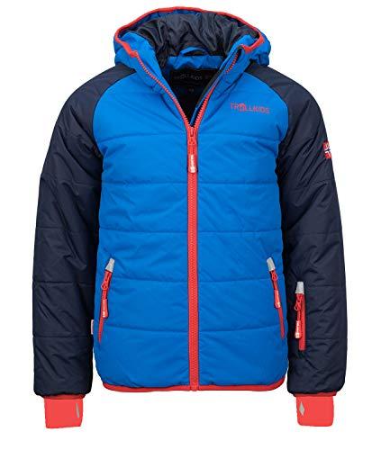 Trollkids Hafjell XT Wasserabweisende Skijacke Winterjacke, Marineblau/Mittelblau/Rot, Größe 128