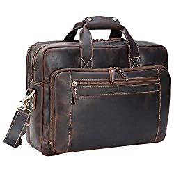 "Texbo Men's messenger Leather 17.3"" Laptop Briefcase"