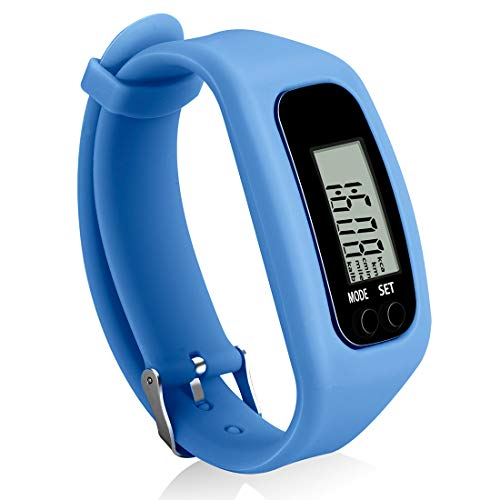 Bomxy Fitness Tracker Watch, Simply Operation Walking Running Pedometer with Calorie Burning and Steps Counting (blue-0618)