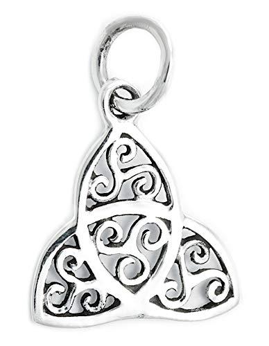 Windalf Celtic Triskele Schmuck Anhänger Harmony 1.9 cm Irisches Silber-Amulett Vintage Glücksbringer mit Lebens-Spiralen 925 Sterlingsilber
