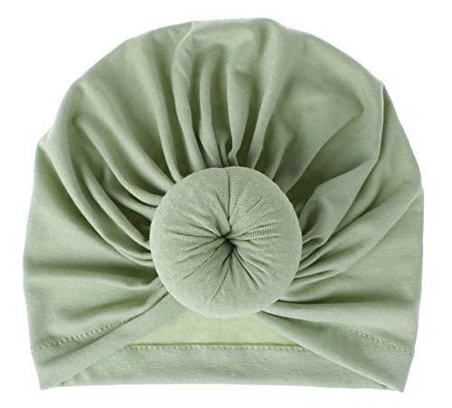 Gevie - Gorro para bebé o niña, suave y bonito, de algodón, sombrero, turbante con nudo para bebé verde claro Talla única